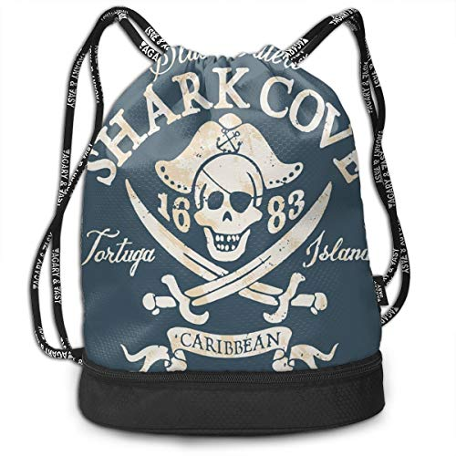 Drawstring Backpack bags, Shark Cove Tortuga Island Caribbean Waters Retro Jolly Roger
