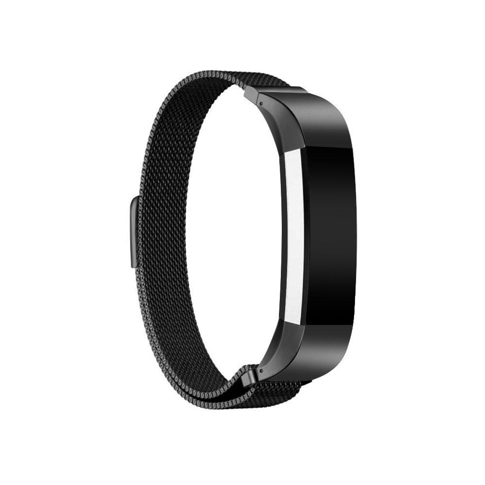 JOMOQ Fitbit ALTAアルタHRとバンドメタル, Milaneseステンレススチール交換用ストラップ  ブラック B07BS8W2C6