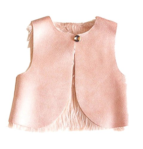 Little Girls Fur Leather Reversible Vest (Pink Reversible Vest)