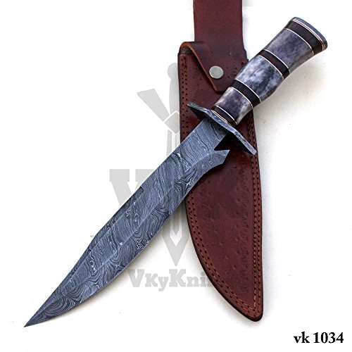 Damascus Knife Handmade – Color Camel Bone Handle Twisted Pattern Bowie 15.50 Inches vk1034