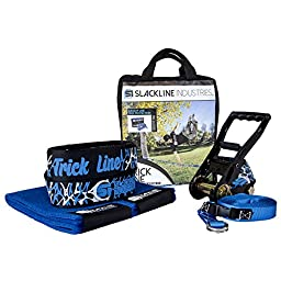 Slackline Industries 50FT Trick Line COMPLETE KIT with Trampoline-Style webbing for Extra Bounce INCLUDES Tree Protection and Backup Line