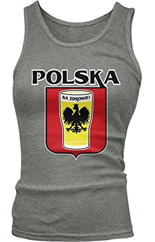 Amdesco Junior's Polska Na Zdrowie, Poland Cheers, Beer Pint Tank Top, Deep Heather Small