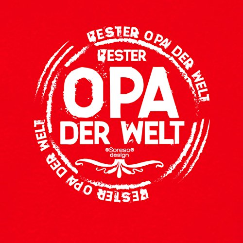 Großvater Fun-T-shirt als Top Geschenk mit GRATIS Urkunde - Bester Opa der Welt Farbe: rot Gr: 4XL