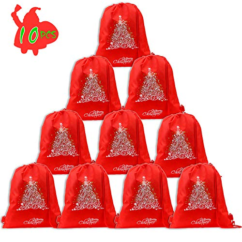 Christmas Drawstring Backpack Bags(10pack), Konsait Christmas Tree Backpack Party Bag Filler Wrapper and Candy Gift Treat Goody Christmas Birthday Party Favor Supplies Decoration