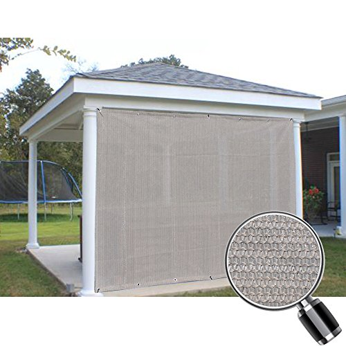 Alion Home Sun Shade Panel Privacy Screen with Grommets on 4 Sides for Outdoor, Patio, Awning, Window Cover, Pergola or Gazebo -200 GSM (8' x 4', Smoke - Al Shades Mobile