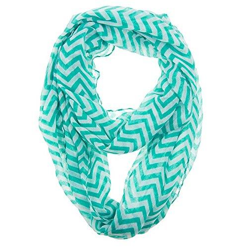 AStorePlus Hot Sale Women Grils Soft Zig Zag Chevron Sheer Infinity Scarf - Teal White