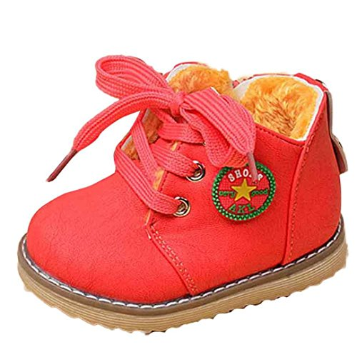 Voberry Toddler Girls Boys Warm Fur Winter Snow Boot Kids Leather Walking Shoes (1-2 years old, Watermelon Red)