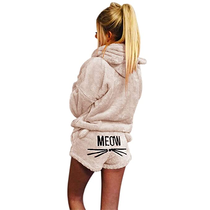 67d53badb93a Mallalah Pijamas para Mujer Ropa de Dormir Acogedora Sudadera con Capucha  Bordada de Lana Meow PJ Set