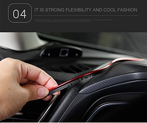 Geekercity 5 Meters 3D DIY Automobile Car Motor Interior Exterior Decoration Moulding Trim Line Strips Sticker Accessories Car Door Dashboard Airvent Steering-wheel Styling Decorative Thread Blue