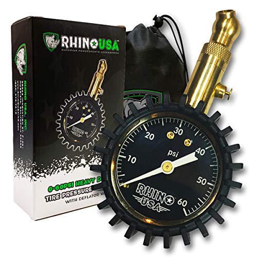 "Rhino USA Heavy Duty Tire Pressure Gauge (0-60 PSI) - Certified ANSI B40.1 Accurate, Large 2"" Easy Read Glow Dial, Solid Brass Hardware, Best Any Car, Truck, Motorcycle, RV…"