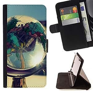 BullDog Case - FOR/Samsung Galaxy S4 Mini i9190 / - / Globe Shine /- Monedero de cuero de la PU Llevar cubierta de la caja con el ID Credit Card Slots Flip funda de cuer