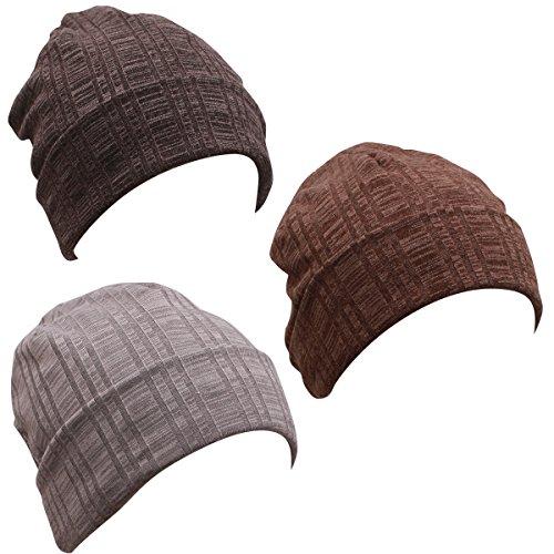Night Sleeping Cap Chemo Hat - Grey Black Brown Slouchy Beanie thin light lightweight slouchie Soft Cotton For Women Men Summer Cancer Patient, One - Lightweight Hat Jersey