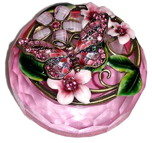 Welforth Jeweled Pink Butterfly & Flower Enamel Crystal Trinket Box ()