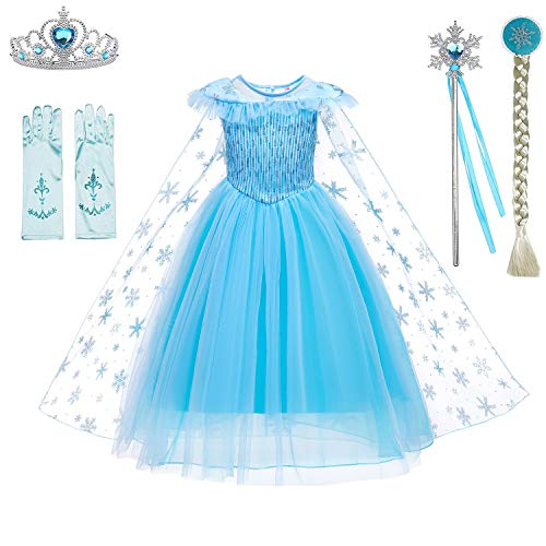 Snow Queen Princess Elsa Costumes Birthday Party Halloween Costume Cosplay Dress up for Little Girls 3-12 Years(New Snow Queen,Age:6-7Years Height 51