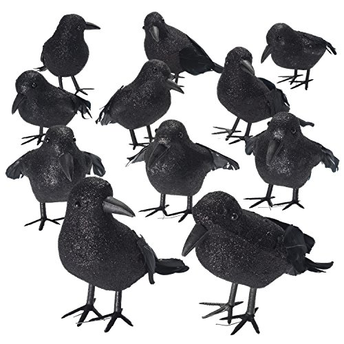 Shrocko Halloween Realistic Looking Feathered Crows (9 pcs) Props For Home Décor and Party Decoration Raven (Raven Decor)