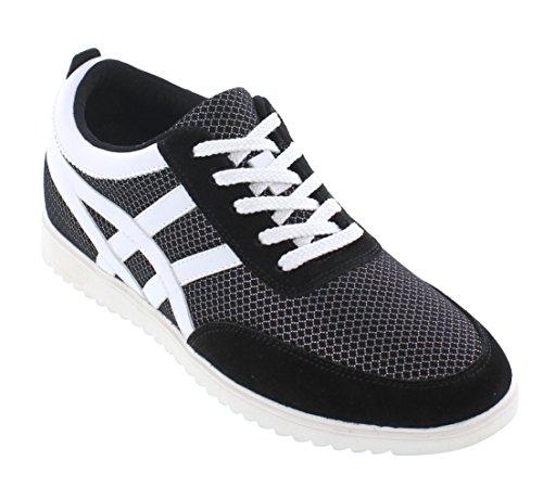Calto L227084-2,4 Pollici Più Alto - Altezza Crescente Scarpe Ascensore - Sneakers Moda Nera