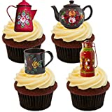 Canal Ware / Roses and Castles Edible Cupcake Toppers - Stand-up Wafer Cake Decorations by Made4You
