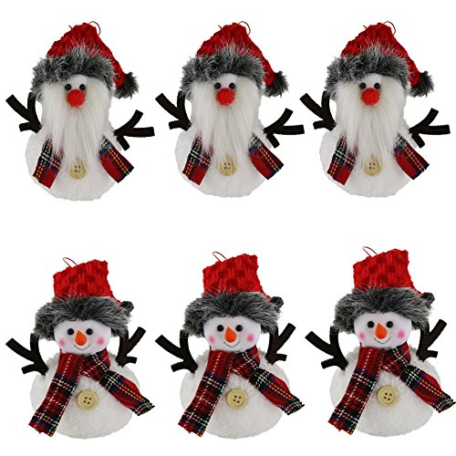 Wewill 6 Pack Plush Hanging Christmas Tree Ornament Sets Santa and snowman, 5.5inch