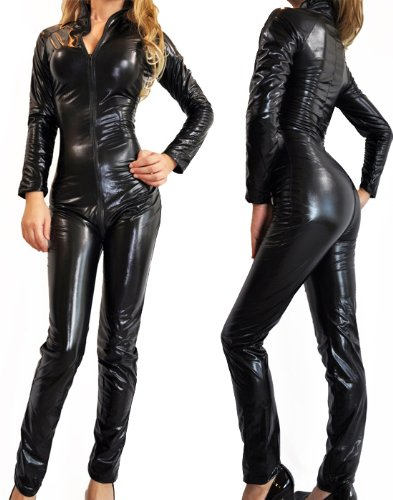 [NawtyFox Sexy Gothic Black Wet Look Metallic Catsuit Fetish Bodysuit Superhero Costume] (Adult Plus Size Batgirl Costumes)