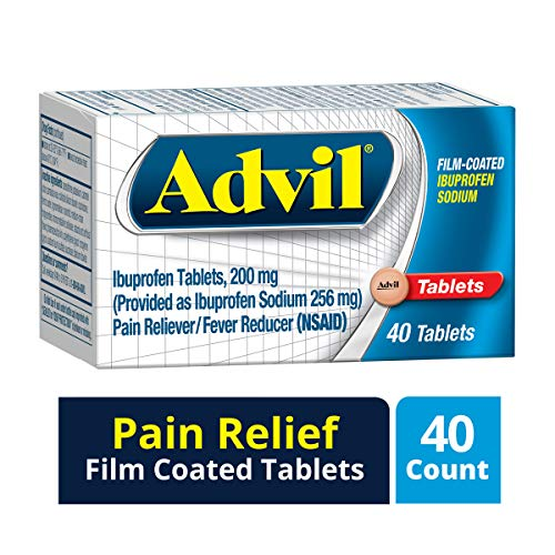 Advil (40 Count) Pain Reliever/Fever Reducer Film Coated Caplet, 200mg Ibuprofen, Rapid Release Formula, Temporary Pain - Advil Tablets