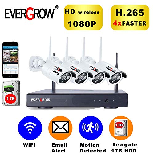 Advanced Technology Video - [2019 Newest] EVERGROW H.265 Wireless Home Security Cameras System,4 Channel Network IP NVR, 1TB Hard Drive,4 HD 2.0MP 1080P Wireless Weatherproof Indoor Outdoor CAM-WIFI-4CH-2MP-168