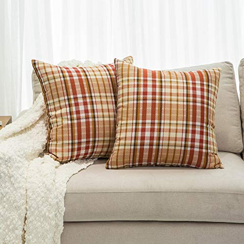 - Mika Home Pack of 2 Farmhouse Decor Buffalo Checkers Plaid Jacquard Throw Pillow Covers Cushion Covers for Sofa Couch Bed 18x18 inches Orange Brown