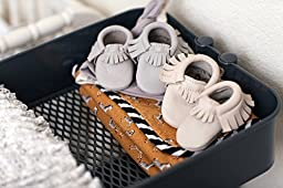 Freshly Picked Soft Sole Leather Baby Moccasins - Platinum - Size 0