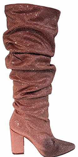 Liliana Saint Knee High Rhinestone Embellished Slouchy Scrunch Block Heel Boots Pink 7 Suede Scrunch Boot
