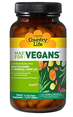 Country Life Max for Vegans - Multivitamin and Mineral Complex with Amino Acids - 120 Vegan Capsules