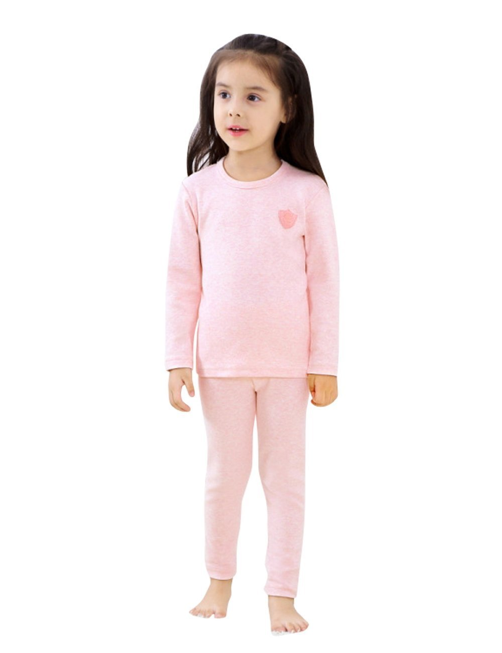 Menschwear Girl's Soft Thermal Underwear Set Long Top and Bottom (140CM,Light-Pink)