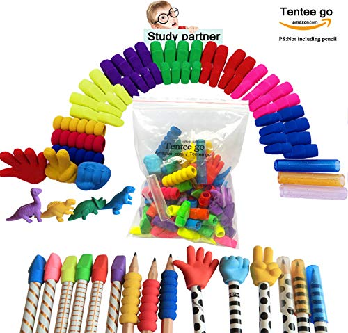 Pencil Erasers Tops Erasers Caps Rock Paper Scissors Caps With Pencil Grips And Pencil Covers Assorted Colors Storage Box (Bonus Dinosaurs Eraser Study Partner) By Tentee go (self-zip bag) (Pencil Top Eraser Heart)