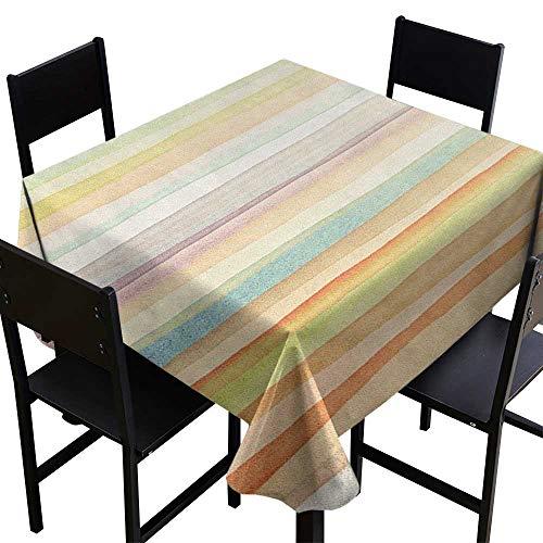 SKDSArts Party Table Cloth Pastel,Horizontal Watercolors Stripes Acrylic Artistic Elements Liquid Brushstrokes Print, Multicolor,W70 x L70 for Umbrella Table ()