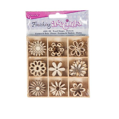 Assorted Wooden Boxes - Better Crafts WOODEN SHAPES FLOWERS 45PC ASSORTED IN WOOD BOX (3 pack) (02015-040)