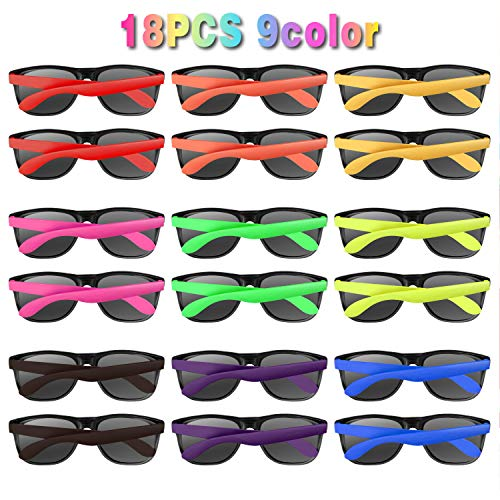 Neon Sunglasses Party Favors 18 PCS 9 Colors 80's Style for Pool Party,Beach Party,Christmas Celebration,Thanksgiving,Carnival,Graduation Party, Summer Party,Birthday Party,for Girls Boys Teens adults ()