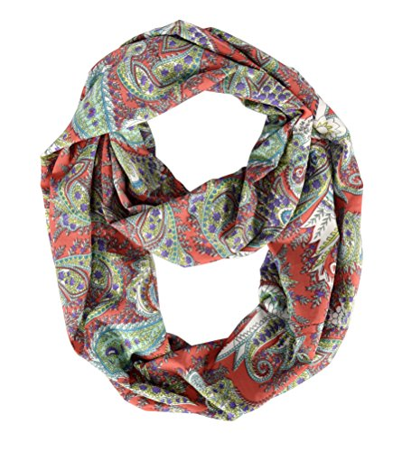 Peach Couture Summer Fashion Graphic Bohemian Scarf Paisley Scarf Circle Scarf Red Scarf Infinity Scarf loops Coral