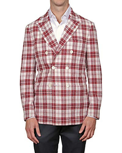 Isaia Mens Wool Blazer, 48 Red