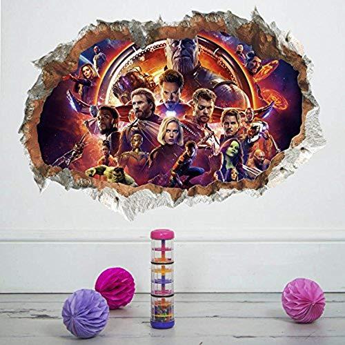 thu Avengers Infinity War Marvel Super Hero 3D Smashed Wall Sticker Decal Art, Captain America, Hulk, Iron Man, Thor, Hawkeye, Black Widow Wall Decal Sticker (14226)