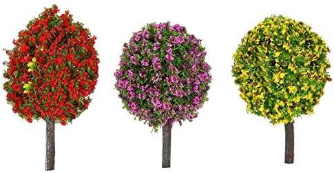 ミックス3色ボール状の花木鉄道模型レイアウトの庭の風景風景木ジオラマミニチュア30個 木 森 材料 キット 鉄道 庭 建物 大小混載