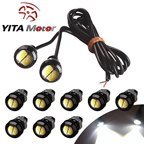 YITAMOTOR 10 X 5730 9W 18mm Eagle Eye LED Car Motor DRL Backup New White Lights bulbs 12V
