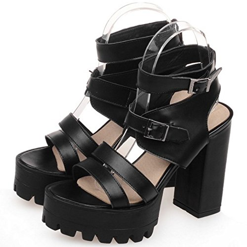 TAOFFEN Women Fashion Chunky Heel Slingback Buckle Sandals Black GS3peJ