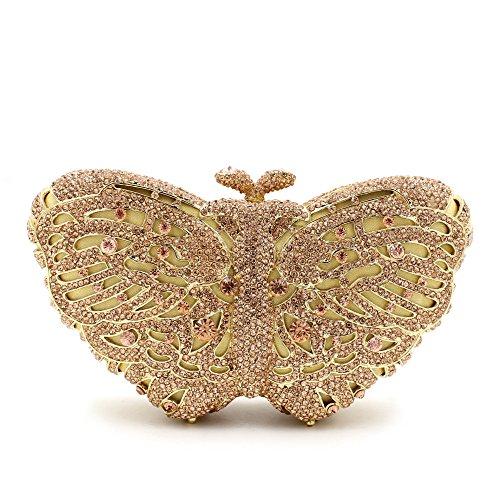 La mujer favorita de Rhinestone Mariposa colorida noche Bolsa Bolso monedero C