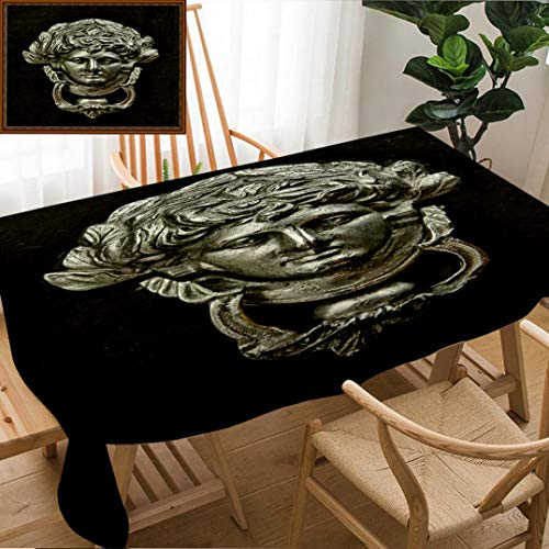 "Skocici Unique Custom Design Cotton and Linen Blend Tablecloth Antique Door KnockerTablecovers for Rectangle Tables, Large Size 86"" x 55"""