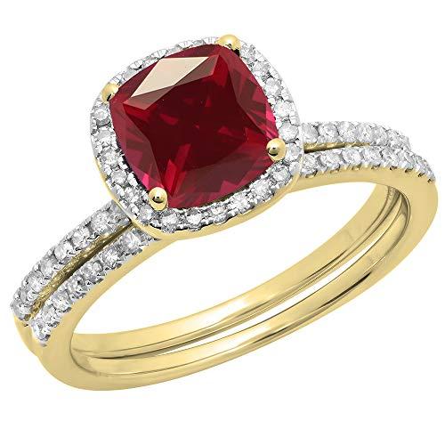 Dazzlingrock Collection 14K 7 MM Cushion Ruby & Round White Diamond Halo Wedding Ring Set, Yellow Gold, Size 6.5