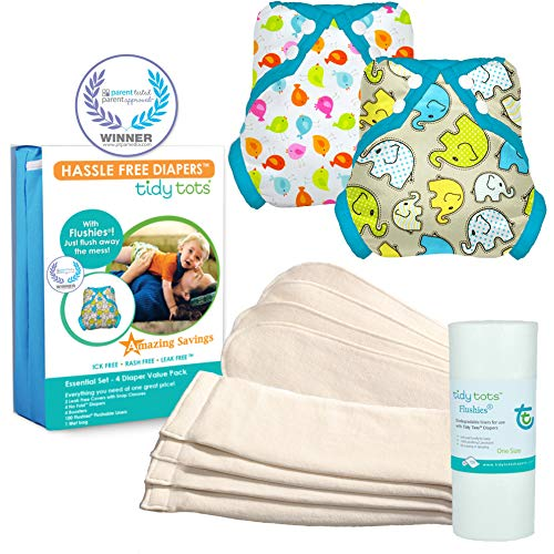 Tidy Tots Diaper Hassle Free 4 Diaper Snap Essential Set With TweetHeart and Elephant Covers by Tidy Tots Diapers (Image #1)