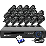 Zclever 16 Channel 1080N HD 1200TVL Security Cameras System with 16 Cameras 2TB Hard Drive Included