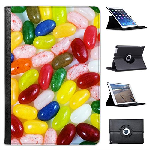 Multi Flavoured Jelly Beans Red, Green, Pink, Blue for Apple iPad Mini, iPad Mini 2, iPad Mini Retina, iPad Mini 3 Faux Leather Folio Presenter Case Cover Bag with Stand Capability