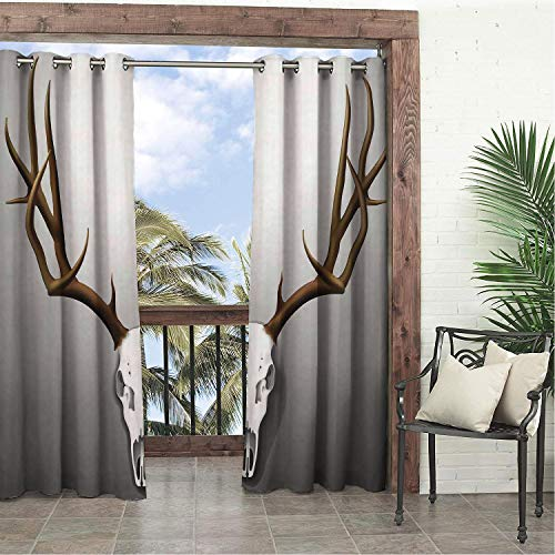 Linhomedecor Garden Waterproof Curtains Antler Realistic Deer Skull Large Horns Elk Skeleton on Abstract Backdrop XL Brown White Grey Porch Grommets Print Curtains 120 by 108 inch]()