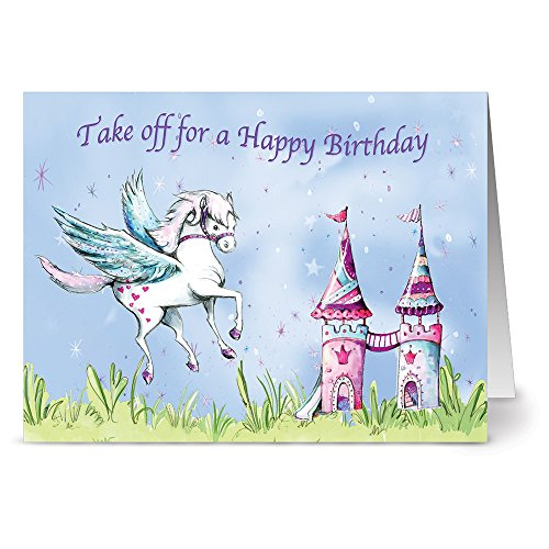 Pegasus Castle (24 Note Cards - Birthday Pegasus and Castle - Blank Cards - Plum Purple Envelopes Included)
