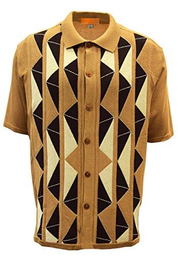 Edition-S Men's Short Sleeve Knit Shirt- California Rockabilly Style Aztec Triangle Design (XL, Beige)