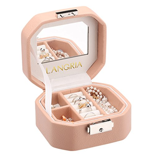 LANGRIA Small Jewelry Box Pink Lockable Jewerly Organizer Display Case Mini Travel Octagonal Shape with Built-in Mirror for Makeup and - Octagonal Shape